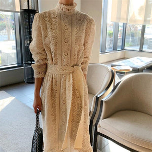 Open image in slideshow, HziriP 2020 Stylish Lace All-Match Korean Elegant Lace-Up Chic Hook Flowers Women Sweet Long Dresses