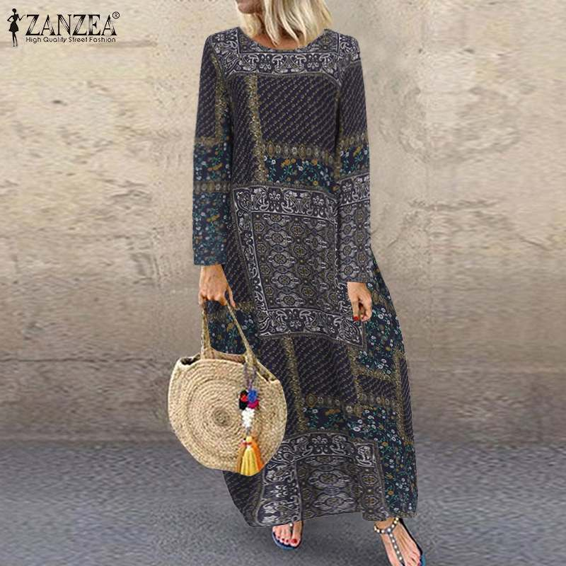 Vintage Printed Maxi Dress Women's Sundress 2020 ZANZEA Casual Long Sleeve Tunic Vestidos
