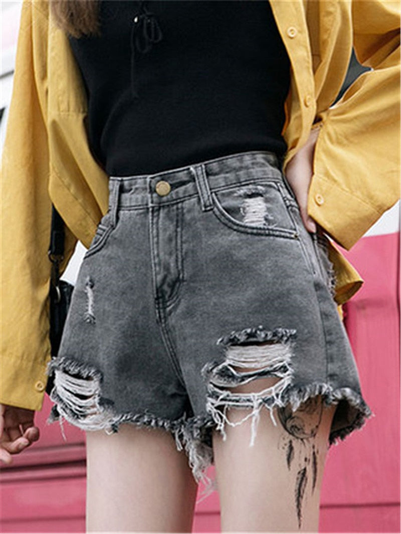 2020 Summer Denim Short Jeans Korean style Women Sexy High Waist Hole Ripped Shorts Fashion Casual Slim Plus Size Denim Shorts