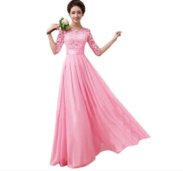 Formal Dresses Half Sleeve Chiffon Long Evening Party Dress Prom Gown Plus Size Lace Maxi Dress XXL