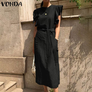 Open image in slideshow, VONDA Sexy Sleeveless Summer Dress Ruffle Maxi Long Dress with Women Bohemian Plus Size Robe