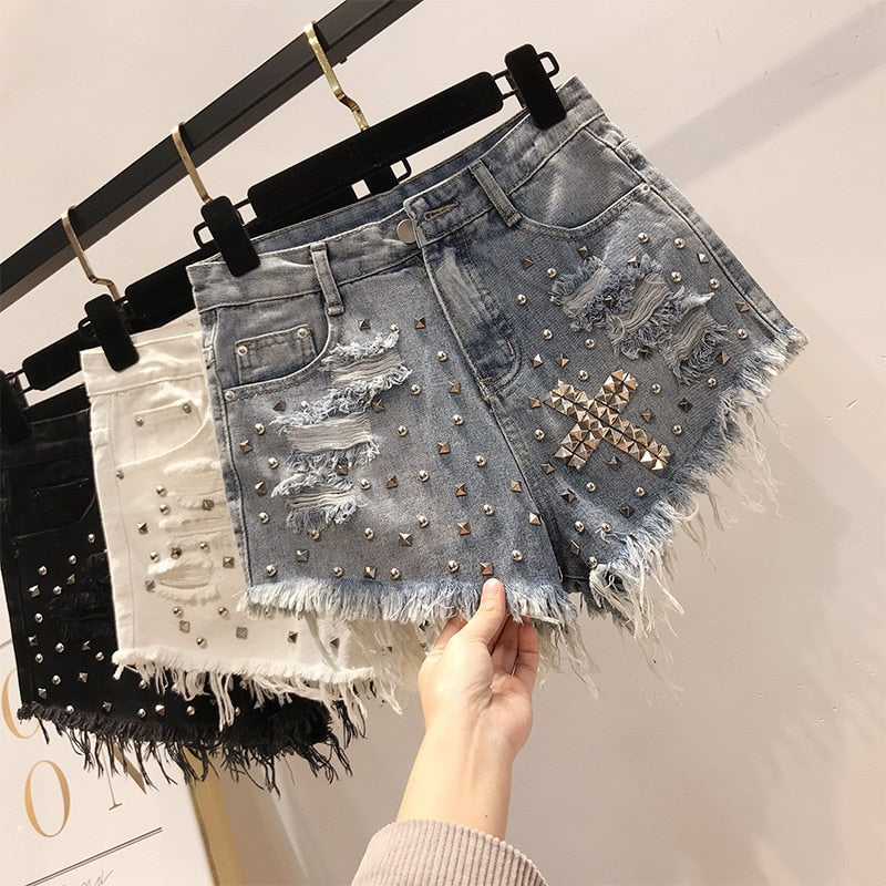 White Sexy Shorts Women Korean Popular Fashion Holes Denim Shorts Retro High Waist Rivets Short Shorts Punk Cool Black Shorts