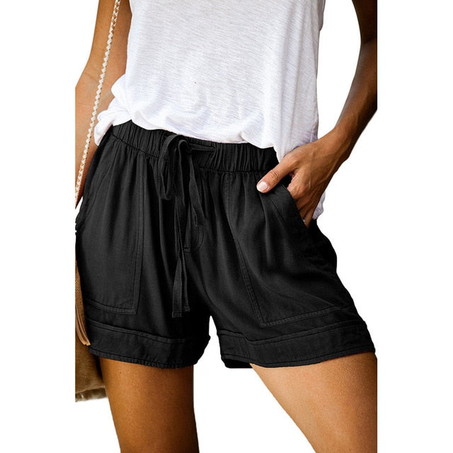 Female Casual Tencel Shorts Wide-Leg Women's Short New High-Waisted Elastic Strap Loose 2020 Summer Elastic Waist Regular Sashes