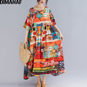 DIMANAF Plus Size Women Print Dress Summer Sundress Cotton Female Lady Vestidos Loose Casual Dress Big Size 5XL 6XL