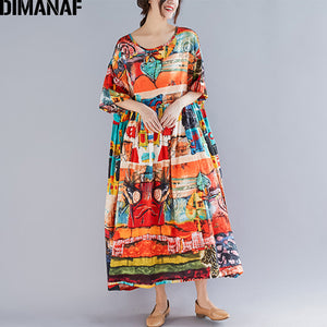 Open image in slideshow, DIMANAF Plus Size Women Print Dress Summer Sundress Cotton Female Lady Vestidos Loose Casual Dress Big Size 5XL 6XL