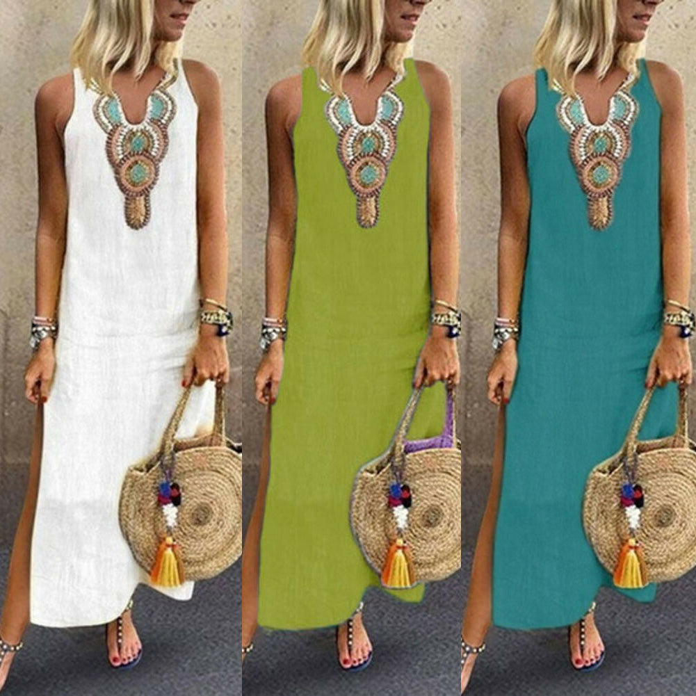 Women Long Kaftan Dress Boho Maxi Caftan Tunic Casual Beach Sundress Plus Size