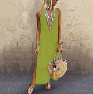 Open image in slideshow, Women Long Kaftan Dress Boho Maxi Caftan Tunic Casual Beach Sundress Plus Size