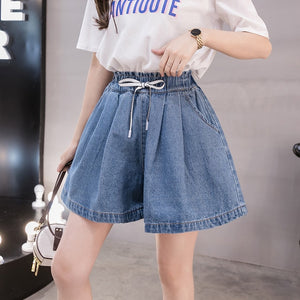 Open image in slideshow, Plus Size Summer High Waist Flared Short Jeans Denim Shorts for Women S M L XL 2XL 3XL 4XL 5XL