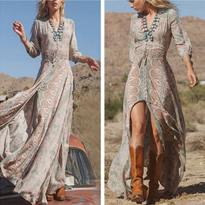 Fashion Women Sexy Boho Summer Casual Chiffon Floral Evening Party Beach Long Maxi Dress