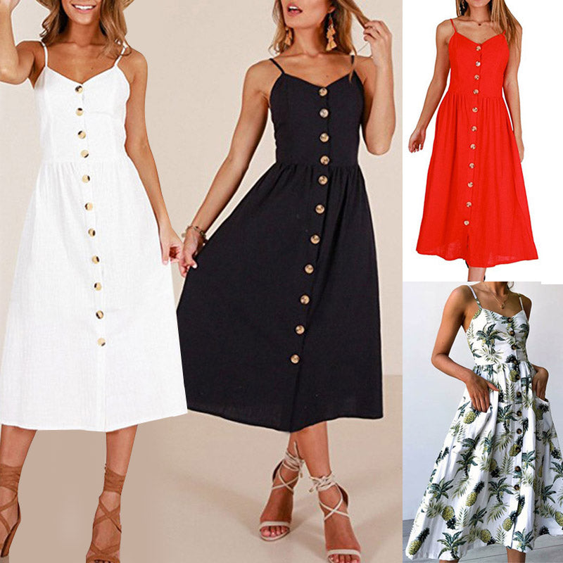 New Women Print Floral Stripe Long dress Sexy V-Neck Sleevele Button Beach Casual Boho Midi Dress