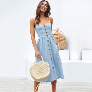 Open image in slideshow, New Women Print Floral Stripe Long dress Sexy V-Neck Sleevele Button Beach Casual Boho Midi Dress