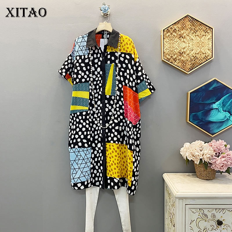 XITAO Trend Printed Dress Women Fashion Short Sleeve Single-breasted Dresses Korean Style Loose