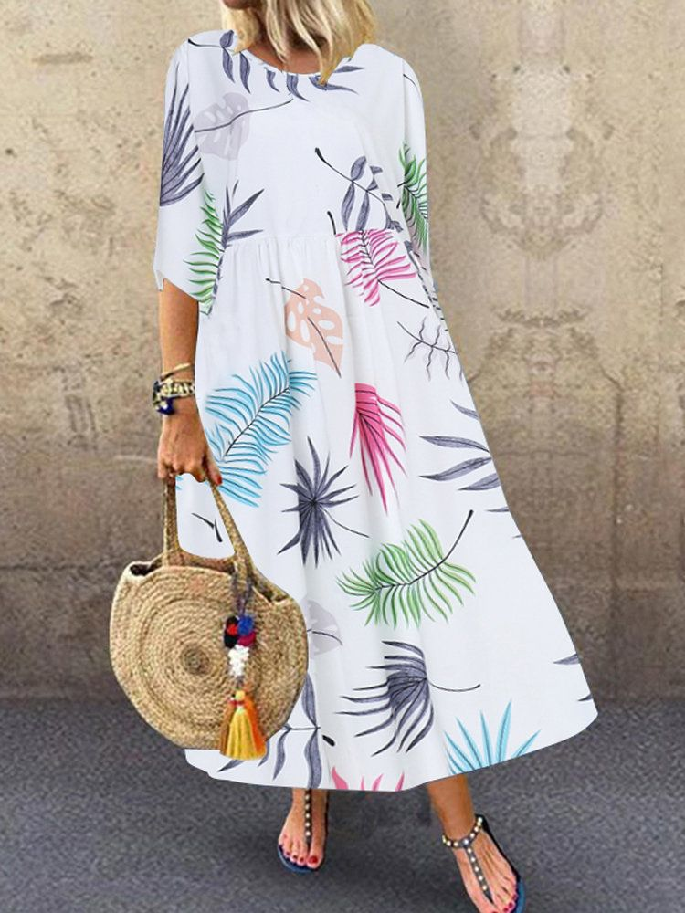 Print plus size summer maxi boho dress women 2020 Half O-Neck A-Line Bohemian New Fashion Loose dresses