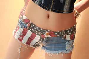 Open image in slideshow, Women Shorts Jeans Summer Mini Shorts Sexy USA Flag Print Hole Destroyed Booty Denim Short Feminino mujer Plus Size Shorts