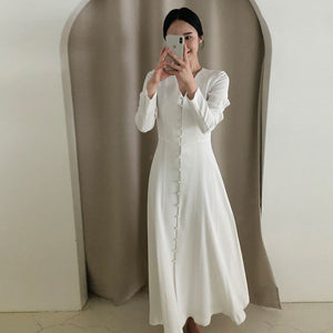 Elegant Dress 2020 Spring Fashion V-neck Single-breasted High Waist Solid Big Swing Type Long sleeve Dresses
