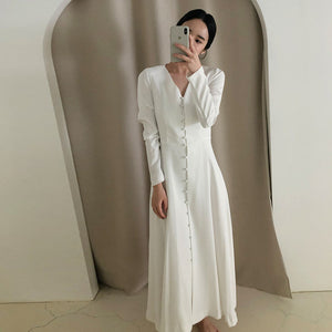 Open image in slideshow, Elegant Dress 2020 Spring Fashion V-neck Single-breasted High Waist Solid Big Swing Type Long sleeve Dresses