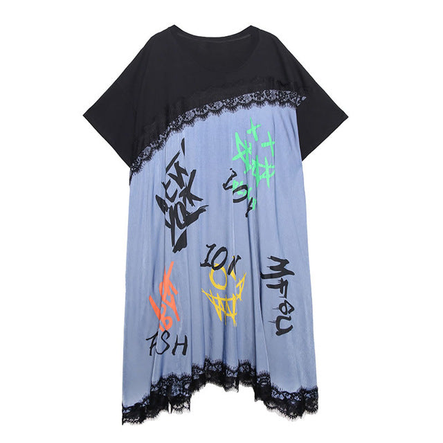 XITAO Plus Size Letter Print Lace Dress Women Clothes 2020 Summer Fashion Pullover Short Sleeve