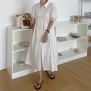 Summer Students Solid Cute Puff Sleeves Hot Sweet New Chic Long Dress Vestidos