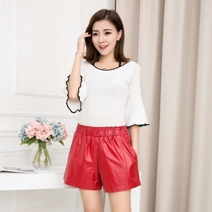 Open image in slideshow, High Quality Women Elastic Waist Wide Leg Short Pants 8 Colors Casual Streetwear Shorts Slim Fit Sheepskin Real Leather Shorts
