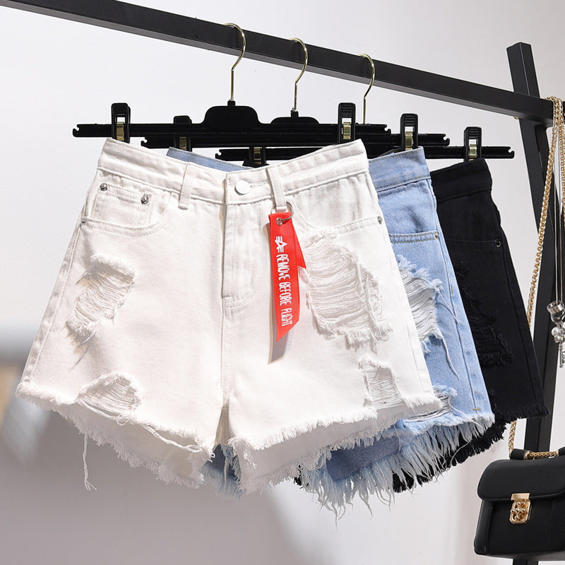 Loose Hole Denim Shorts Women High Waist Sexy Mini Shorts Jeans Ladies Plus Size Summer Fashion Tassel Black Short Pants Womens