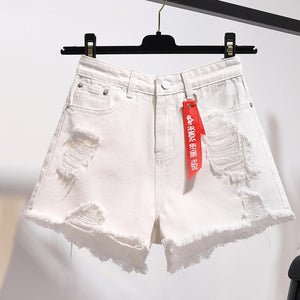 Open image in slideshow, Loose Hole Denim Shorts Women High Waist Sexy Mini Shorts Jeans Ladies Plus Size Summer Fashion Tassel Black Short Pants Womens