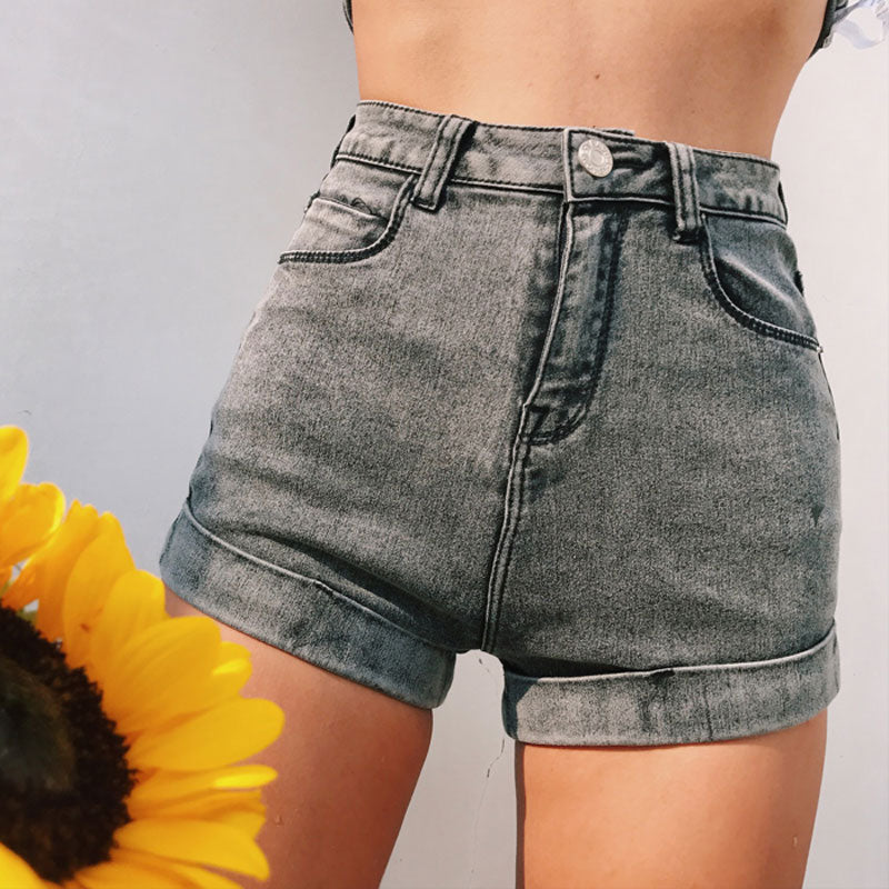 Sexy High Waist Women shorts Blue Black denim shorts