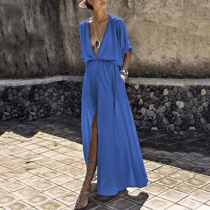 Summer Long Maxi Dress Female Casual Loose Beach Dress Ankle-Length