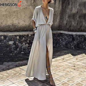 Open image in slideshow, Summer Long Maxi Dress Female Casual Loose Beach Dress Ankle-Length