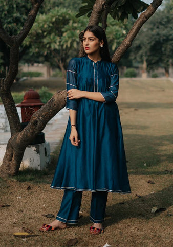 NOOR KURTA TUNIC - Chanderi Anarkali, House Of Pink, Kurta Set, Indianwear, Cotton Suits