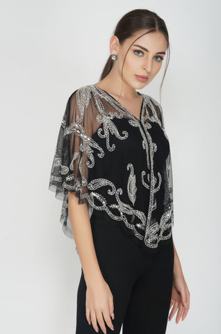 Black Tulle Poncho Style Cape