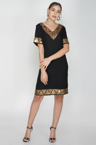 Antique Brass Sequins Black Dress