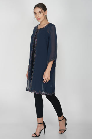 Scallop Edge Navy Long cape