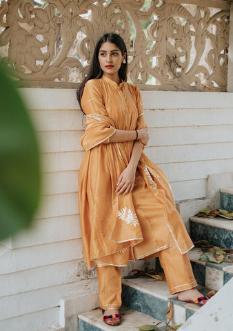 KESAR KURTA SET - Chanderi Anarkali, House Of Pink, Kurta Set, Indianwear, Cotton Suits