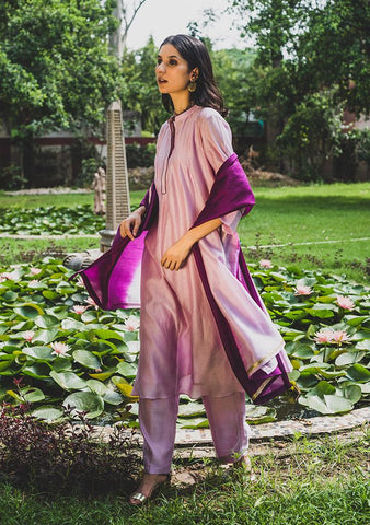 Purple Surrender Set - Chanderi Anarkali, House Of Pink, Kurta Set, Indianwear, Cotton Suits