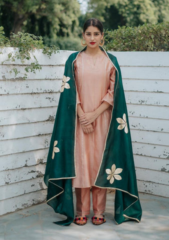 GULKAND KURTA SET - Chanderi Anarkali, House Of Pink, Kurta Set, Indianwear, Cotton Suits