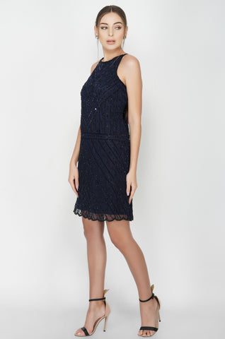 Backless Embroidered Midnight Blue Dress