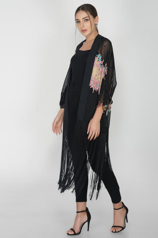 Black Tasseled Long Cape