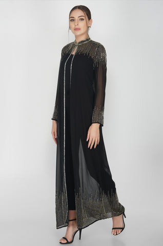 Black Embellished Long Cape