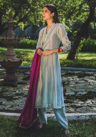 Windy Blue Set - Chanderi Anarkali, House Of Pink, Kurta Set, Indianwear, Cotton Suits