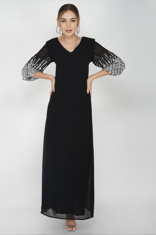 Sunrise Sleeve Embroidered Black Maxi Dress