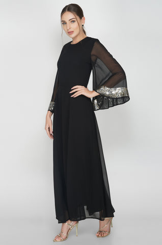 Sunrise Wide Sleeve Embroidered Black Maxi Dress