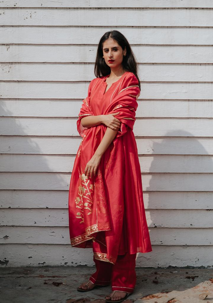 SURKH KURTA SET - Chanderi Anarkali, House Of Pink, Kurta Set, Indianwear, Cotton Suits