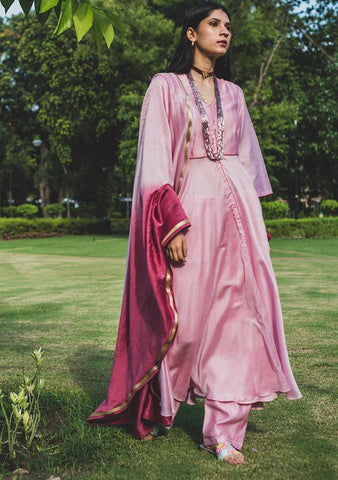 Pink Peony Set - Chanderi Anarkali, House Of Pink, Kurta Set, Indianwear, Cotton Suits