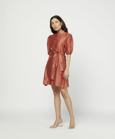 CARMINE EMBROIDERED DRESS