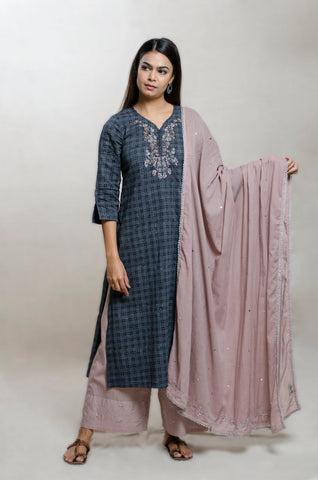 Black & Mauve Cotton Hand Block Print Kurta Set