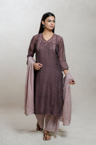 Brown & Mauve Chanderi Silk Hand Block Print Kurta Set