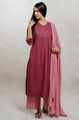Wine & Old Rose Cotton Hand Block Print Kurta Set