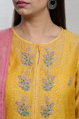Yellow & Old Rose Chanderi Silk Hand Block Print Kurta Set