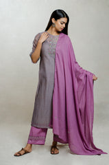 Mauve & Purple Chanderi Silk Hand Block Print Kurta Set