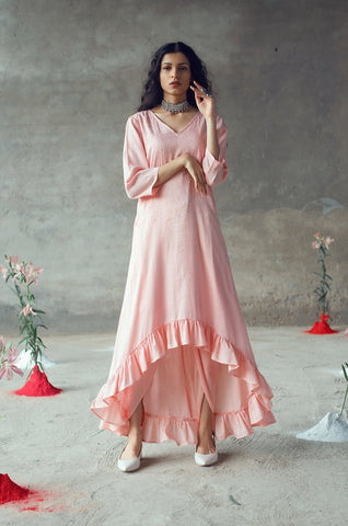 Peach Tunic with Dhoti